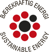 Bærekraftig energi. Sustainable Energy. That it says in a circle, with seven red points and two black in the middle. Badge.