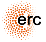 The letters erc. And lot's of small orange points in a circle. Erc's logo.