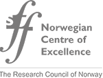 SFF. Norwegian Centre of Excellence. The Research Council of Norway. Just black letters. Logo.