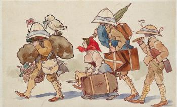 illustration, people, walking, gear, suitcases, commission