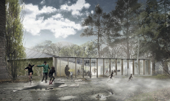 Architects rendering of planned new climate house, sunny with kids playing in front of the building.