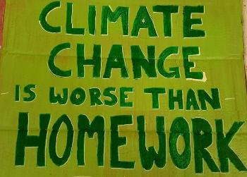 "Poster saying ""Climate change is worse than homework"""