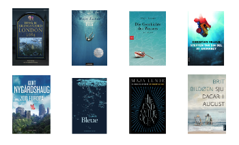 A collage of different books on climate fiction written by norwegian authors