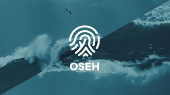 OSEH Logo on a diagonally offset background of waves