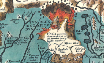 Map of Iceland, first published in 1570, showing the volcano Hekla