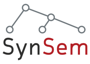 SynSem with letters. 5 circle with lines connected. Logo.