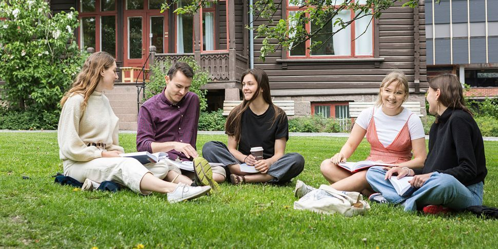 Five students are sitting on the lawn having a good time. Photo.