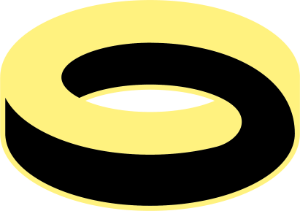 Swirl in black and yellow. Moebius strip. Logo.