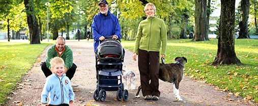 A stroll in a park with one baby wagon, grand dad, a man, a woman and two dogs. Photo.