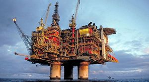 Oil platform on the sea and sky. Photo.