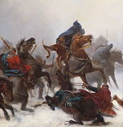 Warriors and horses fighting in the snow.