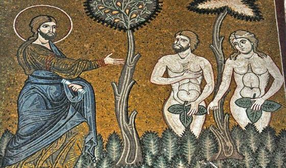 Mosaic of God, Adam and Eve.