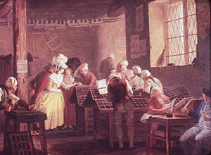 A visit to the print shop, by Liégeois Léonard Defrance (1735-1805)