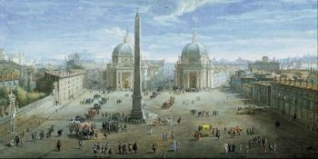 Painting of a large urban square with a high monument surrounded by buildings.