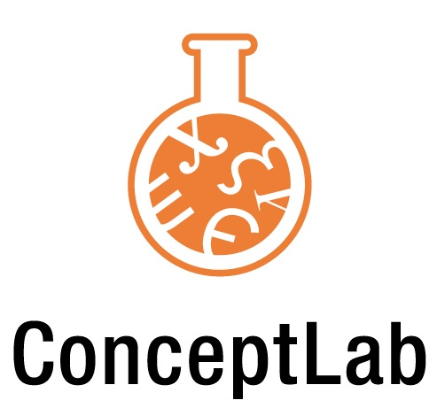 Logo for ConceptLab. A laboratory flask filled with mathematical formulas.
