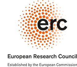 ERC it stand with letters. And orange points in a circle. Logo.