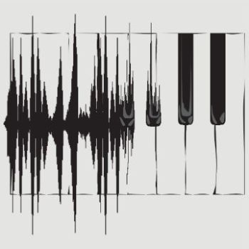 Sound wave transforming into a piano keyboard