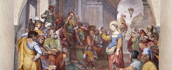 Painting of Saint Catherine surrounded by a group of male philosophers.