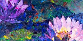 Beautiful lotus flowers and many colours. Painting.