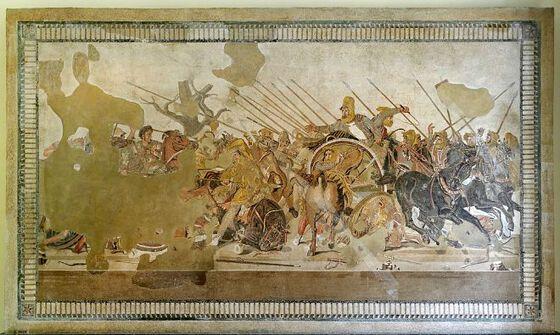 Mosaikk av en klassisk krigsscene.