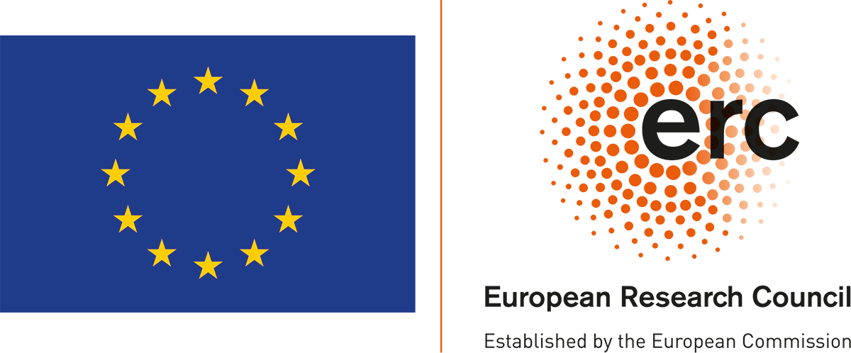 Two pictures: 1. EU-logo with 13 yellow stars on blue background. 2. ERC logo with ERC with big letters, European Research Centre with small letters and Established by European Comission with small letters. And small orange points in a circle.