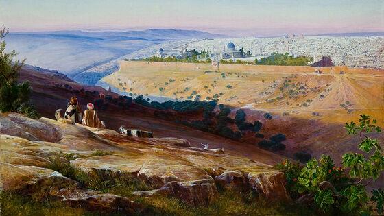 Maleri av to mennesker som ser utover Jerusalem fra Olivenfjellet.