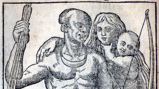 En gammel tegning av en familie med mor, far og barn.
