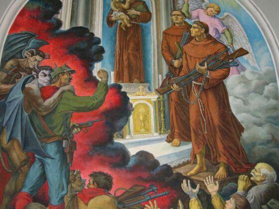 Et kirkebygg der munker står ved alteret bærende på våpen og folk som hyller dem. En sint, bevæpnet soldat til høyre i bildet som er omfavnet av djevelen. Maleri.