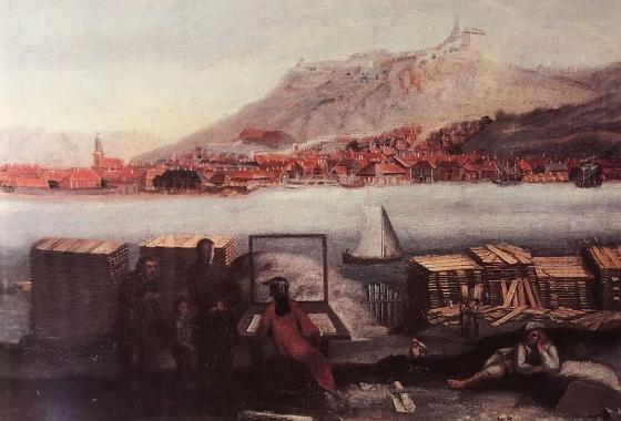 Soldiers looking at Halden at the other side of the fjord. Painting.