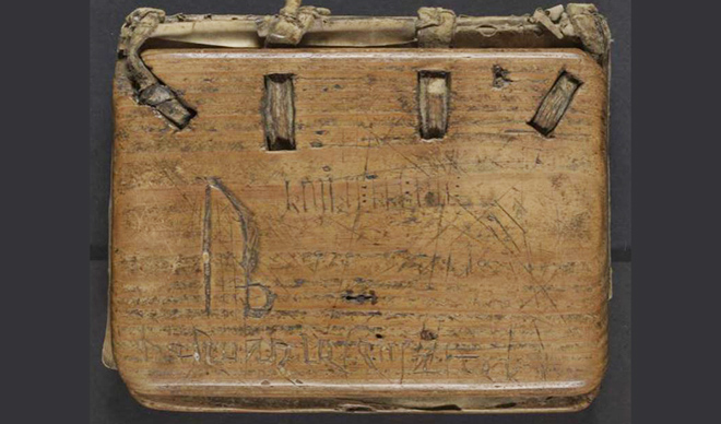 Kvikne psalter - wooden book cover with inscriptions