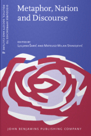 "A red and grey illustrated rose, on a blue background. The front page of the book ""Metaphor, Nation and Discourse"""