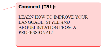 Comment in a word-document, saying: Learn how to improve your language, style and argumentation from a professional!