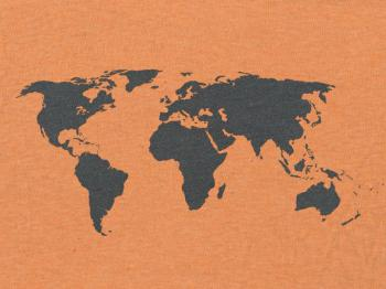 World map, orange background, black continent