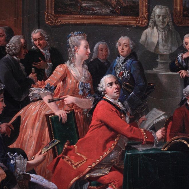 Anicet Charles Gabriel Lemonnier: A Reading in the Salon of Mme Geoffrin (1755), Châteaux de Malmaison et Bois-Préeau, Paris (Wikimedia commons).
