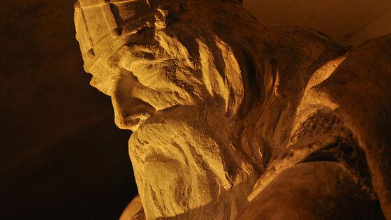 Nærbilde av anlet, skulptur som forestiller Holger Danske