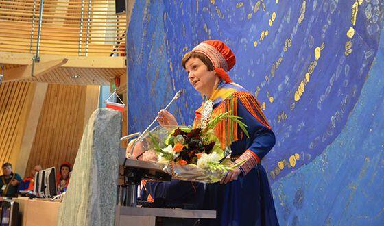 Photo of Aili Keskitalo speaking at the Sami Parliament