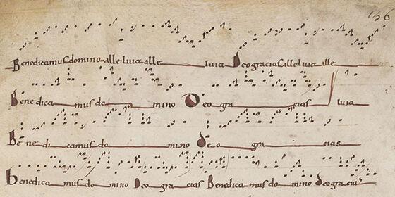 Benedicamus-melodier fra det 11. århundre, manuskriptkilde.