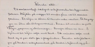 Første akt it says at the top of this handwritten paper. Photo.