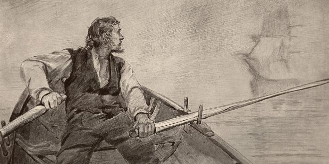 A man row in a small boat and see a tall ship behind his back. Drawing.