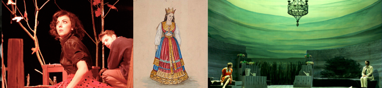 A collage of images from stage productions of Ibsen.