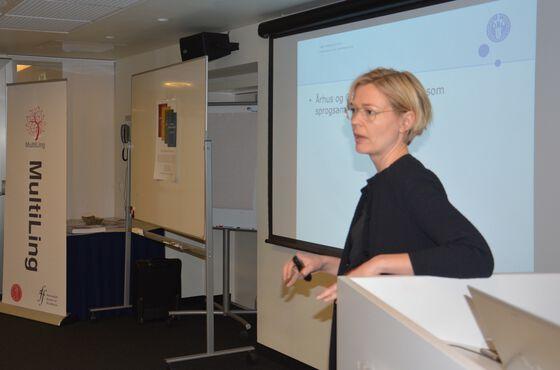 Pia Quist presenterer på SONE-konferansen.