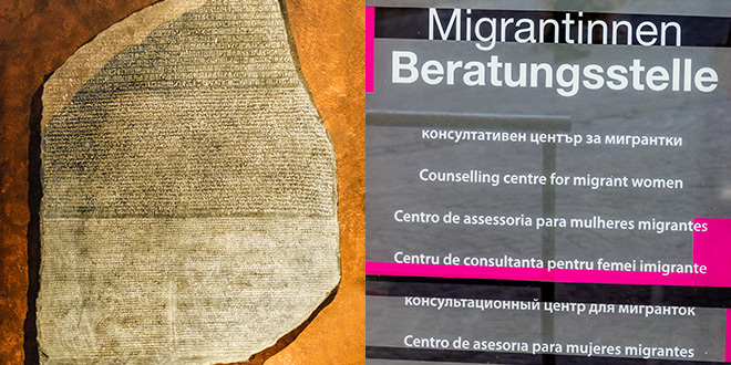 A picture of the Rosetta stone next to a picture of a multilingual sign for a councelling center for migrant women. Photo: Colourbox.
