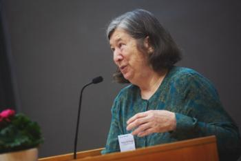 Nancy Hornberger speaking at the conference