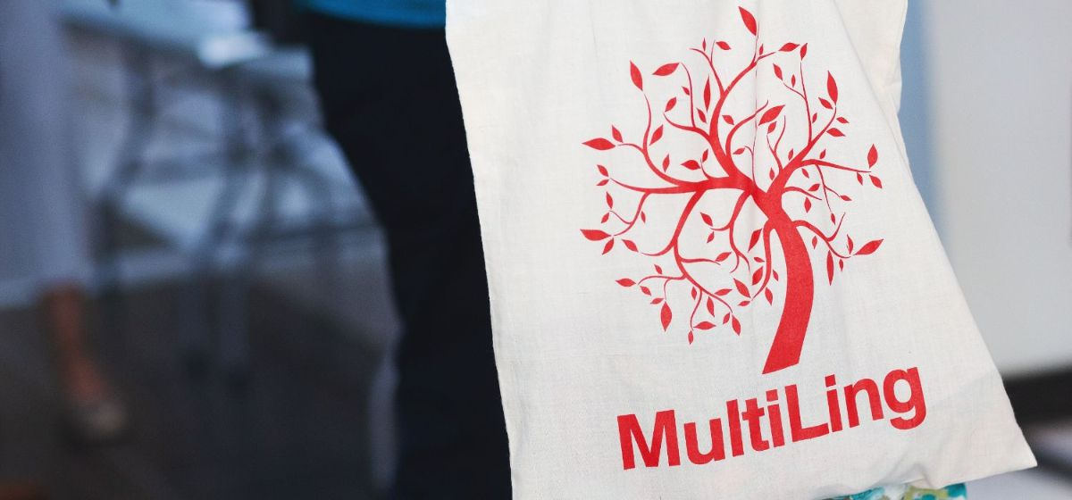 MultiLing logo on a shopping net. Photo.