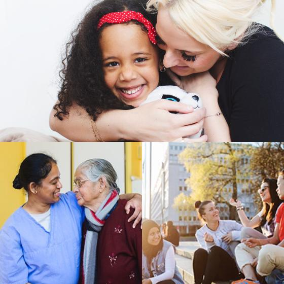 Upper picture: woman and girl hugging. Lower pictures: nurse and elderly woman similing at each other; group of young people sitting on stairs, chatting and laughing.