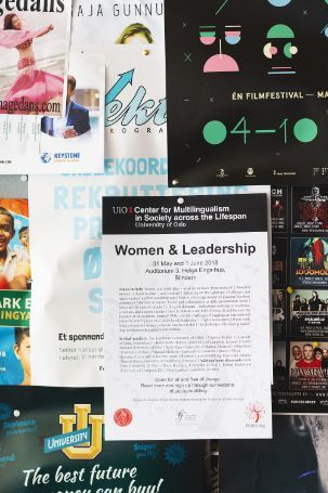 Last year's poster for the Women and Leadership conference.