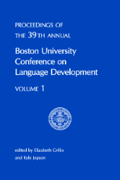 Bucld 39:​​​​​​​ Proceedings of the 39th Boston University Conference on Language Development front page