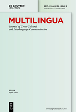 Multilingua – Journal of Cross-cultural and Interlanguage Communiciation front page