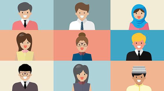 Illustrasjon av ni personer som deltar i nett-møte