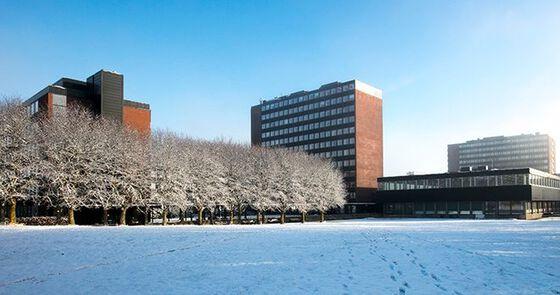 Foto av Det humanistiske fakultets bygninger på Blindern.